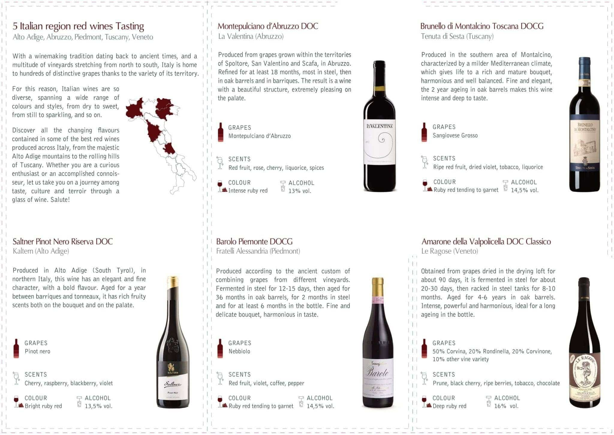 Italian Regions Wine Flight Brochure